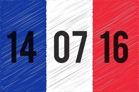 terrorist attack: France national flag. 14 June 2016 written on the flag. The day of terrorist attack in Nice, France. Tribute to all victims of Nice terrorist attack. World mourns for France. illustration.