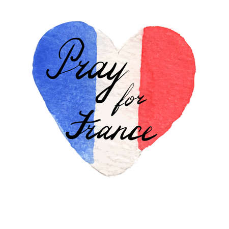 terrorist attack: Watercolor flag of France in heart shape. Pray for France lettering. 14 June 2016 terrorist attack in Nice. Tribute to victims of Nice terrorist attack. World mourns for France. illustration.