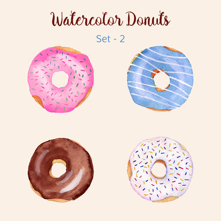 sprinkles: Watercolor donut set isolated on a light background. Hand painted donuts. Isolated sweet sugar icing donuts. Glazed donuts collection. Donut icons collection. Donuts with glaze and sprinkles. Vector. Illustration