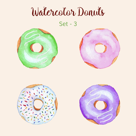 Watercolor donut set isolated on a light background. Hand painted donuts. Isolated sweet sugar icing donuts. Glazed donuts collection. Donut icons collection. Donuts with glaze and sprinkles. Vector. 向量圖像