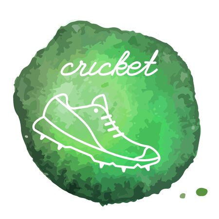 Cricket shoe, sneaker white line icon on abstract watercolor green blot, paint circle. Cricket game equipment composition. Professional sport theme. Illustration