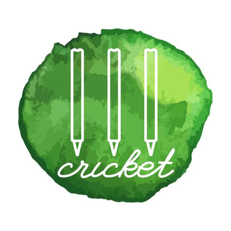 stumps: Cricket stumps white line icon on abstract watercolor green blot, paint circle. Cricket game equipment composition. Professional sport theme.