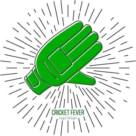 mania: Cricket glove with vintage sun rays. Illustration