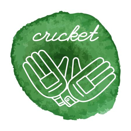 cricketer: Cricket gloves white line icon on abstract watercolor green blot, paint circle. Cricket game equipment composition. Professional sport theme.