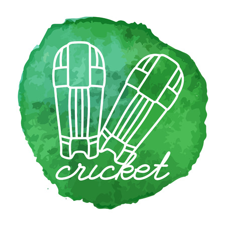 Cricket batting pads white line icon on abstract watercolor green blot, paint circle. Cricket game equipment composition. Professional sport theme.