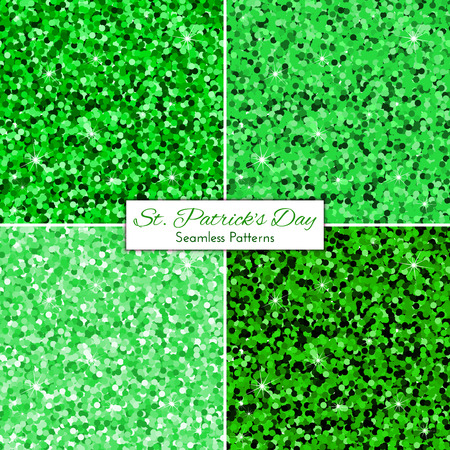 sparkled: Collection of green glitter seamless pattern backgrounds. Vector glowing twinkled sparkled texture. St. Patrick Day concept.