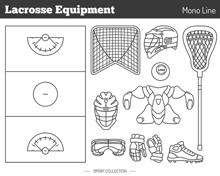 professional sport: Collection of lacrosse game equipment pictograms made in modern mono linear style on white background. Professional sport concept and design elements for web sites, mobile and web applications