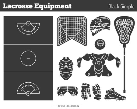 Collection of lacrosse game equipment silhouettes isolated elements on white background. Black simple style. Professional sport concept and design elements for web sites, mobile and web applications. Ilustração