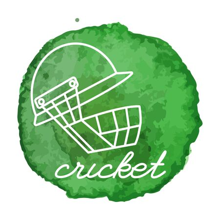 Cricket helmet white line icon on abstract watercolor green blot, paint circle. Cricket game equipment composition. Professional sport theme. Illustration