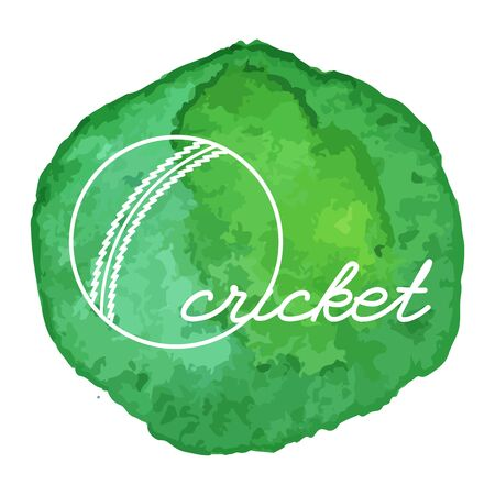 cricketer: Cricket ball white line icon on abstract watercolor green blot, paint circle. Cricket game equipment composition. Professional sport theme.
