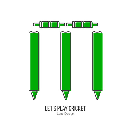 bails: Green Cricket stamps and bails. Illustration