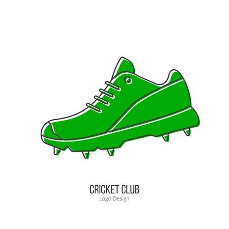 inning: Green Cricket shoe. Illustration