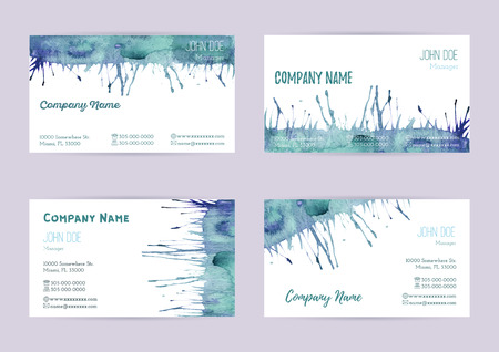 standard size: Set of hand painted watercolor horizontal business card templates. Colorful, bright abstract, blue and green brush stocks and splashes on a white background. Complied with the standard size.