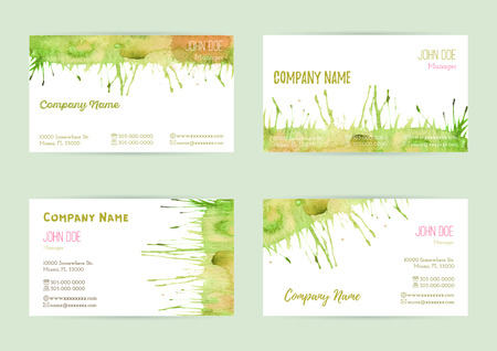 complied: Set of hand painted watercolor horizontal business card templates. Colorful, bright abstract, green, yellow and orange brush stocks and splashes on a white background. Complied with standard size.