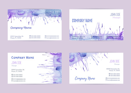 complied: Set of hand painted watercolor horizontal business card templates. Colorful, pastel abstract, blue and purple brush stocks and splashes on a white background. Complied with the standard size.