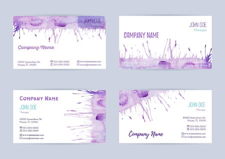 Set of  hand painted watercolor horizontal business card templates. Colorful, pastel abstract, blue and violet brush stocks and splashes on a white background. Complied with the standard size.