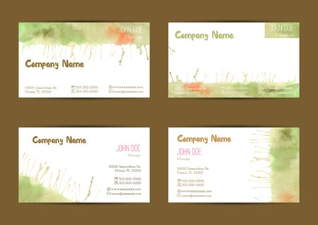 standard size: Set of hand painted watercolor horizontal business card templates. Colorful, bright abstract, green, yellow and orange brush stocks and splashes on a white background. Complied with standard size.