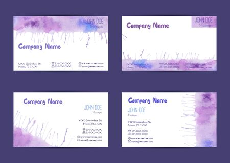 complied: Set of hand painted watercolor horizontal business card templates. Colorful, pastel abstract, blue and violet brush stocks and splashes on a white background. Complied with the standard size.