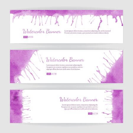 Set of hand painted watercolor horizontal banners, headers. Colorful abstract, pink brush stocks and splashes on a white backgrounds. Modern style graphic design template. Marketing concept. Ilustração