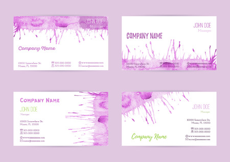 Set of hand painted watercolor horizontal business card templates. Colorful, pastel abstract, pink brush stocks and splashes on a white background. Complied with the standard size.