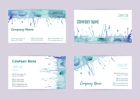 complied: Set of hand painted watercolor horizontal business card templates. Colorful, pastel abstract, blue and green brush stocks and splashes on a white background. Complied with the standard size.