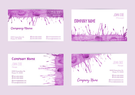 complied: Set of hand painted watercolor horizontal business card templates. Colorful, bright abstract, pink brush stocks and splashes on a white background. Complied with the standard size. Illustration