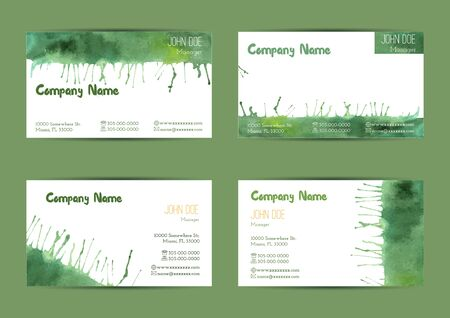 complied: Set of hand painted watercolor horizontal business card templates. Colorful, bright abstract, green brush stocks and splashes on a white background. Complied with the standard size. Illustration