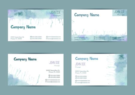 standard size: Set of hand painted watercolor horizontal business card templates. Colorful, pastel abstract, blue and green brush stocks and splashes on a white background. Complied with the standard size.