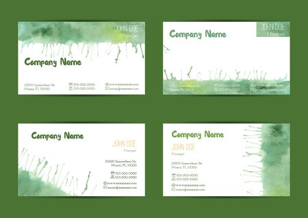 complied: Set of hand painted watercolor horizontal business card templates. Colorful, pastel abstract, green brush stocks and splashes on a white background. Complied with the standard size.