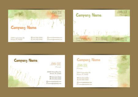 complied: Set of hand painted watercolor horizontal business card templates. Colorful, pastel abstract, green, yellow and orange brush stocks and splashes on a white background. Complied with standard size.