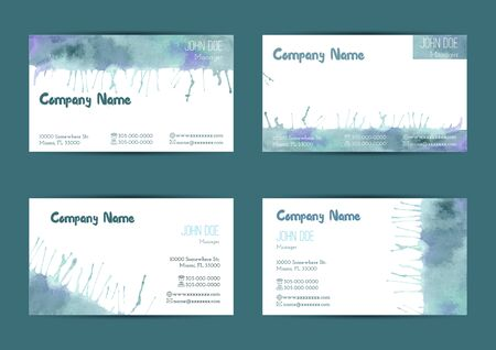 complied: Set of hand painted watercolor horizontal business card templates. Colorful, bright abstract, blue and green brush stocks and splashes on a white background. Complied with the standard size.