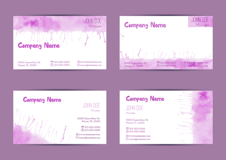 standard size: Set of hand painted watercolor horizontal business card templates. Colorful, pastel abstract, pink brush stocks and splashes on a white background. Complied with the standard size.