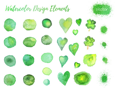 four leaf clovers: Set of hand painted watercolor icon design elements. Hearts, four leaf clovers, paint blots and splashes isolated on a white background.