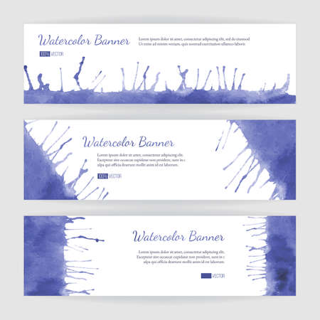 Set of hand painted watercolor horizontal banners, headers. Colorful abstract, blue and violet brush stocks and splashes on a white backgrounds. Modern style graphic design template. Marketing concept