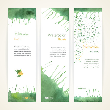 Set of hand painted watercolor vertical banners. Colorful abstract, green and orange brush stocks and splashes on a white backgrounds. Modern style graphic design template. Marketing concept.