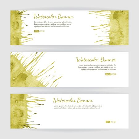 Set of hand painted watercolor horizontal banners, headers. Colorful abstract, green, yellow brush stocks and splashes on a white backgrounds. Modern style graphic design template. Marketing concept. Illustration