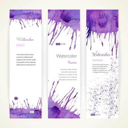 Set of hand painted watercolor vertical banners. Colorful abstract, blue and purple brush stocks and splashes on a white backgrounds. Modern style graphic design template. Marketing concept.