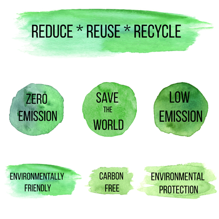 zero emission: Ecology green icon on abstract watercolor paint blots, stains and splash isolated on a white background. Illustration