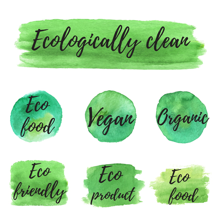 ecologically: Ecology icon on abstract watercolor paint blots, stains and splashes isolated on a white background. Eco, organic icons. Healthy food concept. Illustration
