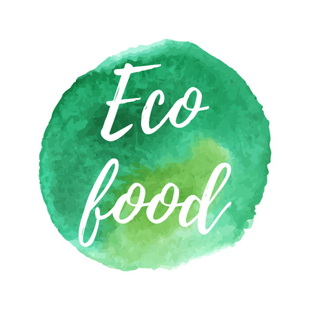 ecologically: Ecology icon on abstract watercolor paint stock isolated on a white background. Eco, organic icon. Healthy food concept.