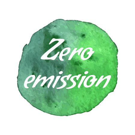 Ecology green icon on abstract watercolor paint blot isolated on a white background.