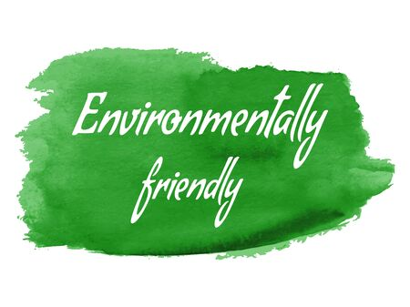 zero emission: Ecology green icon on abstract watercolor paint blot isolated on a white background.