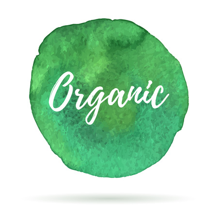 Ecology icon on abstract watercolor paint blot on a white background. Eco, organic icons with shadow. Healthy food concept. Ilustração Vetorial