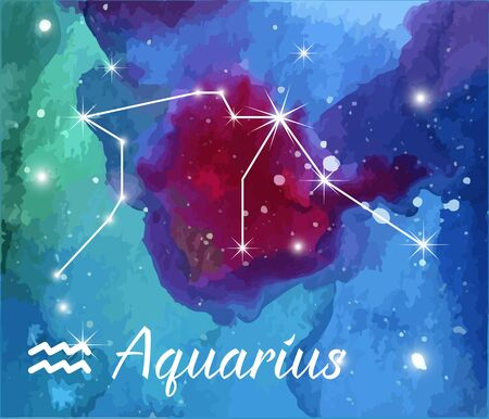 abstract aquarius: Aquarius, horoscope star sign on hand painted watercolor abstract galaxy background.
