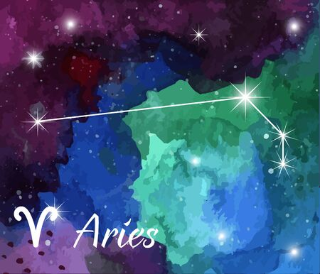 zodiacal symbol: Aries, horoscope star sign on hand painted watercolor abstract galaxy background.