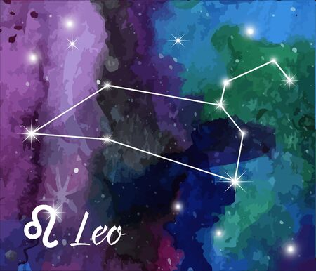 astral: Leo, horoscope star sign on hand painted watercolor abstract galaxy background. Illustration