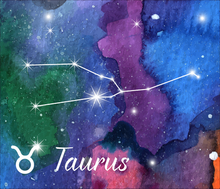 Taurus, horoscope star sign on hand painted watercolor abstract galaxy background. Çizim