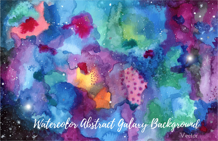 Hand painted watercolor abstract Universe or night sky with stars background.