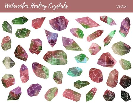 pseudoscience: Collection of of colorful healing crystals, isolated on a white background. Illustration