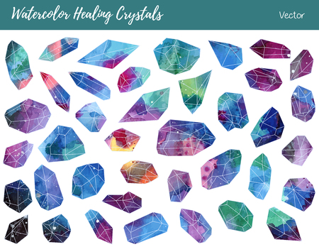 Collection of of colorful healing crystals, isolated on a white background. Watercolor hand painted green, blue, pink, purple aquamarine minerals, gemstones.